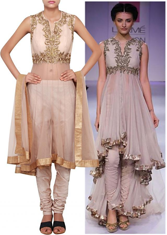 Grey suit embellished in zardosi and kundan embroidery