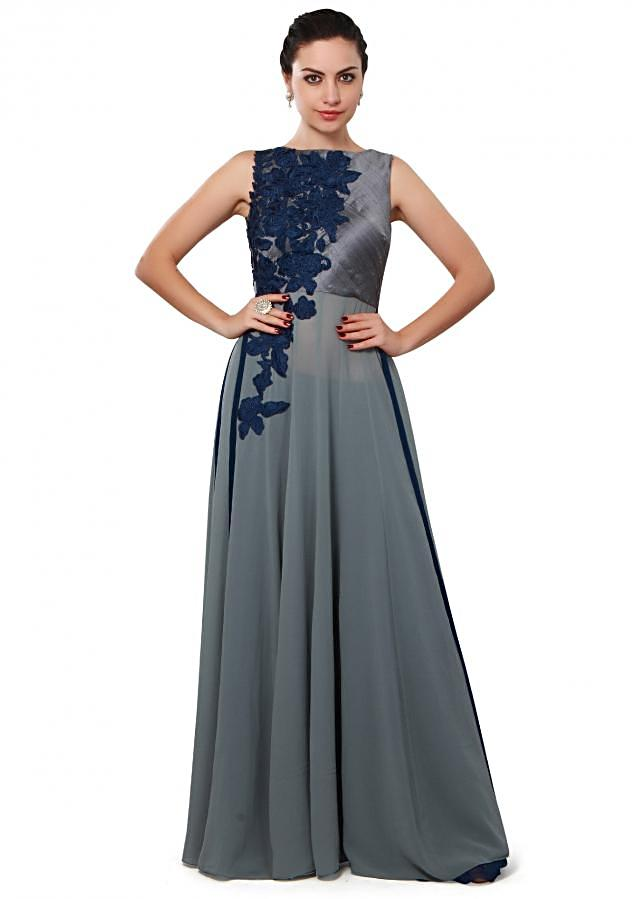 Grey suit featuring in resham embroidery only on Kalki