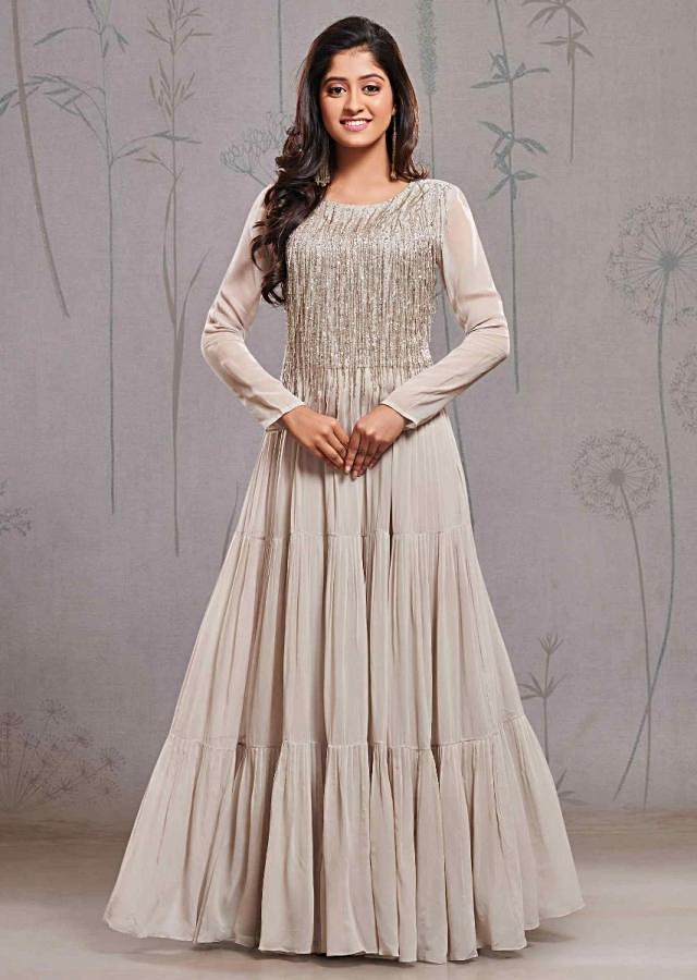 Grey Suit In Georgette With Tassel Embroidered Bodice And Knife Pleats Online - Kalki Fashion