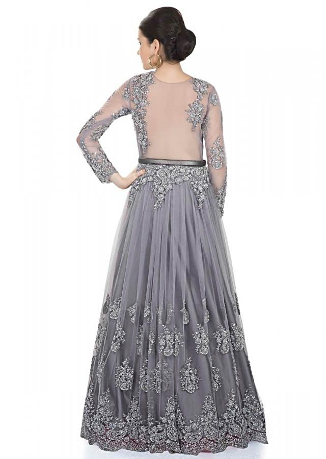 Grey Taffeta and Net Gown Adorned with Cut Dana and Embroidered Net only on Kalki