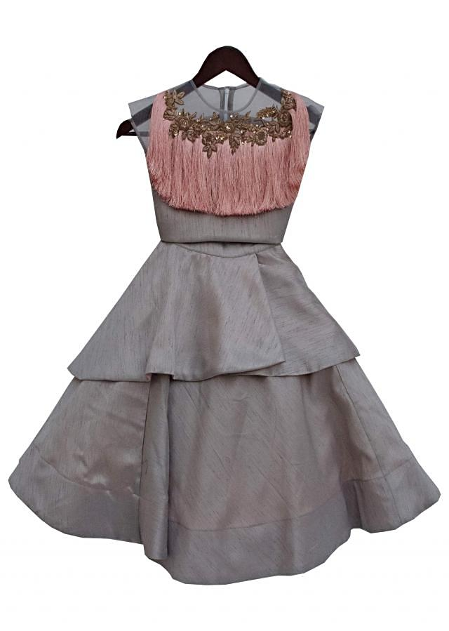 Grey Top with Tassel and Grey Skirt by Fayon Kids