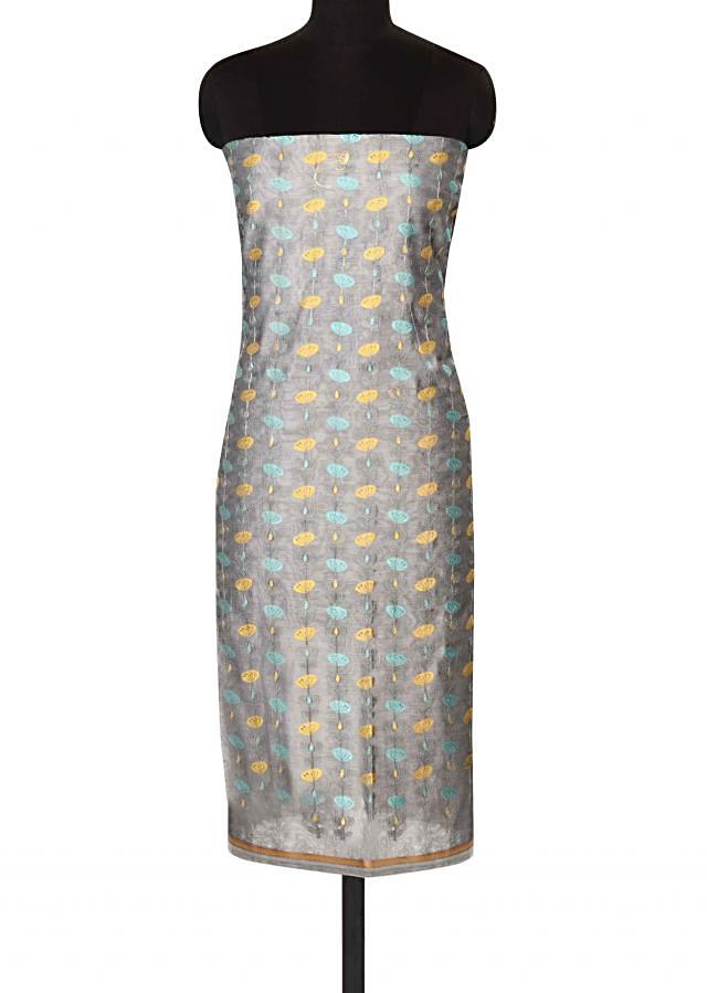 Grey unstitched suit in resham embroidery only on Kalki