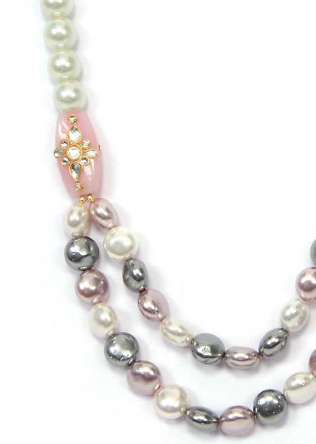 Grey White And Pink Necklace only on Kalki
