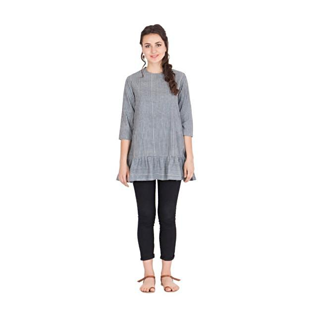Grey with white hand block stripe printed top
