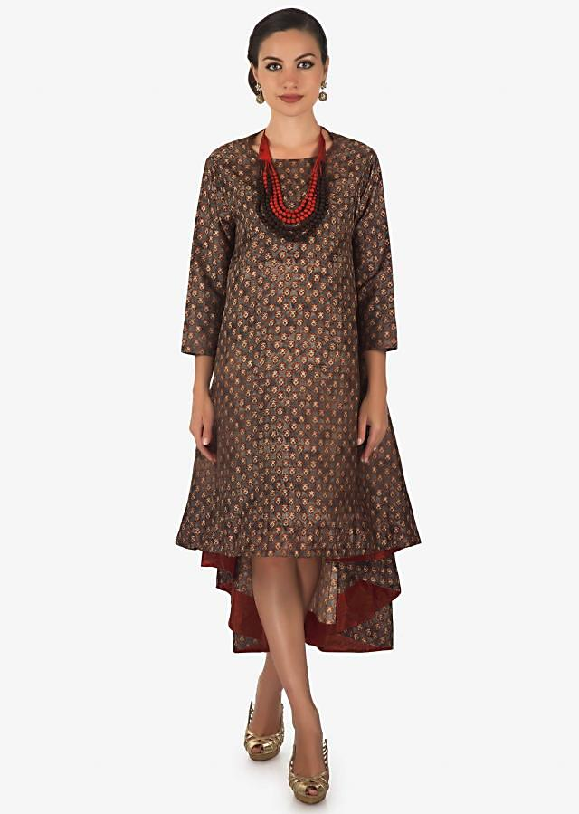Grey printed kurti with front short and back long only on Kalki