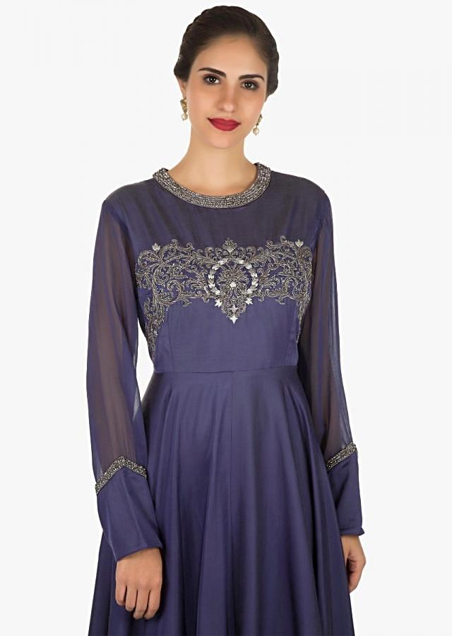 Grey anarkali gown in cotton featuring the zari and zardosi embroidery work only on Kalki