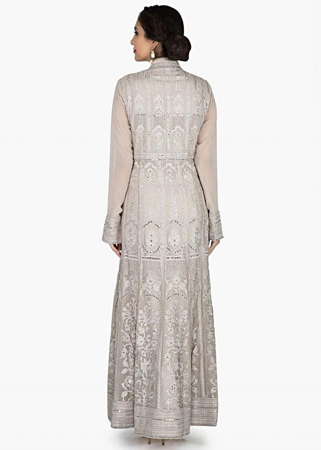 Grey anarkali suit in georgette adorn in resham and kundan embroidery only on Kalki