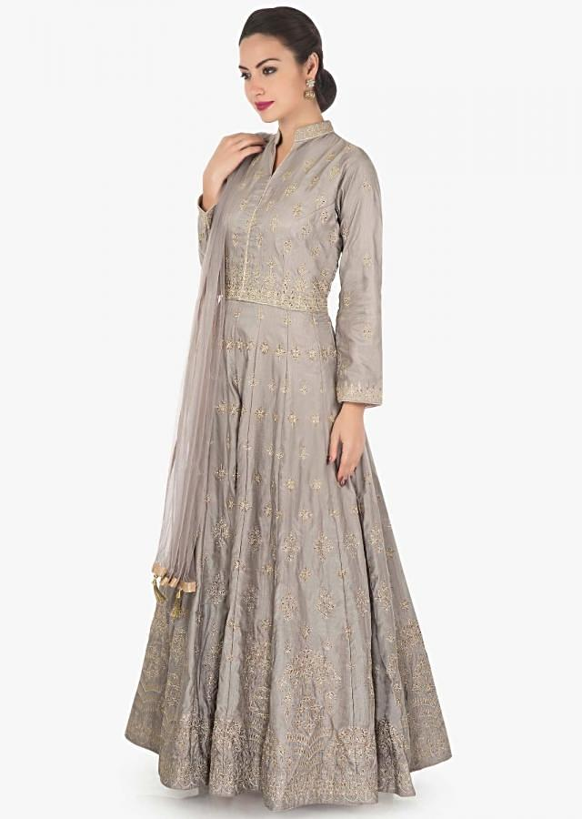 Grey anarkali suit in raw silk with zari embroidered butti all over only on Kalki