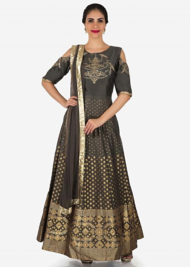 Grey anarkali suit in silk with cold shoulder and embroidered bodice only on Kalki