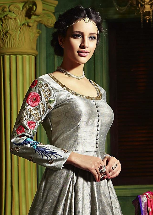 Grey anarkali suit with embroidered neckline and sleeve in bird motif
