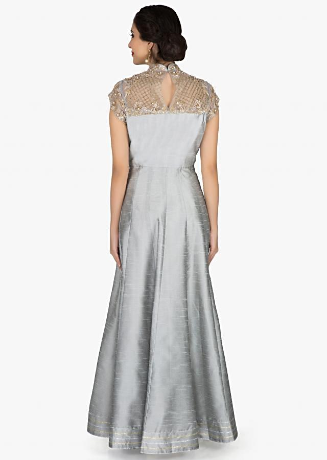 Grey anarkali suit with sheer embroidered yoke in sequin only on Kalki