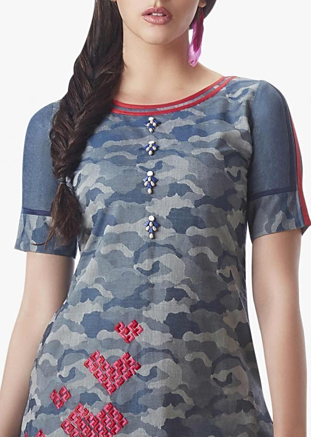 Grey and navy blue salwar suit embellished in resham embroidery