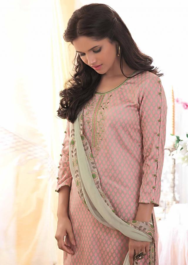 Grey and pink unstitched printed suit with embroidered placket only on Kalki