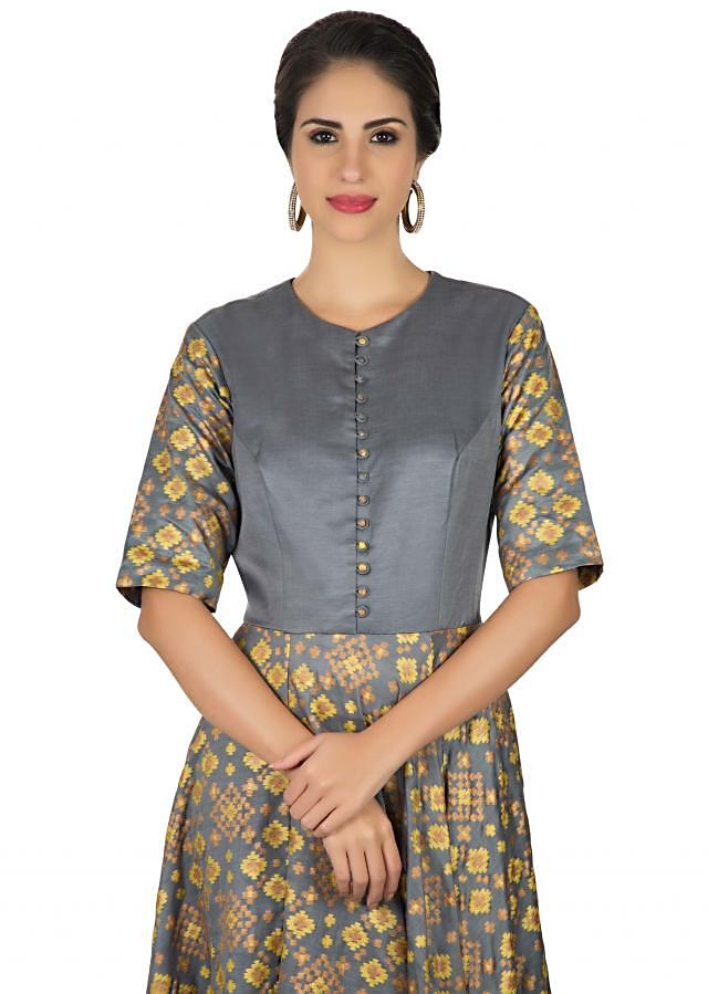 Grey and yellow anarkali dress with ikkat motif print all over only on Kalki