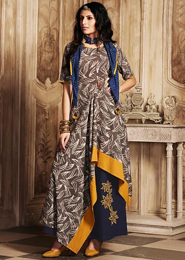 Grey asymmetric suit printed suit with applique work on palazzo pant only on Kalki