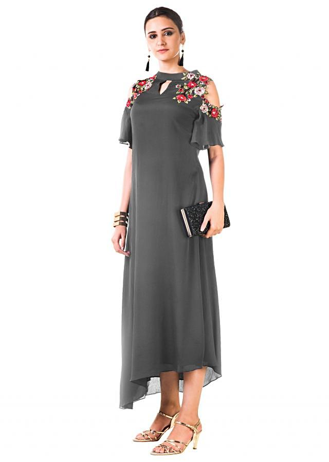 Grey Asymmetrical Dress With Hand Embroidered Cold Shoulder Online - Kalki Fashion