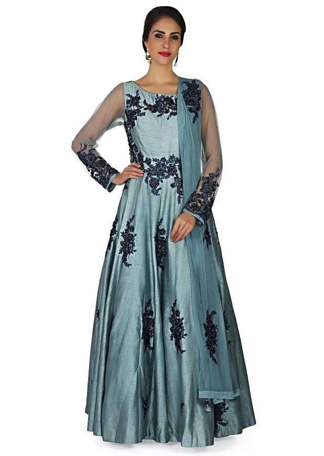 Grey blue anarkali suit in raw silk embellished in resham embroidered patch only on Kalki