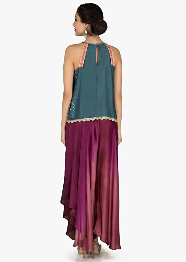 Grey blue bandhani top with burgundy fancy palazzo pant only on Kalki