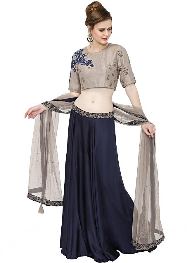 Grey Blue Cotton Silk Net Top and Lehenga with Resham Work only on Kalki