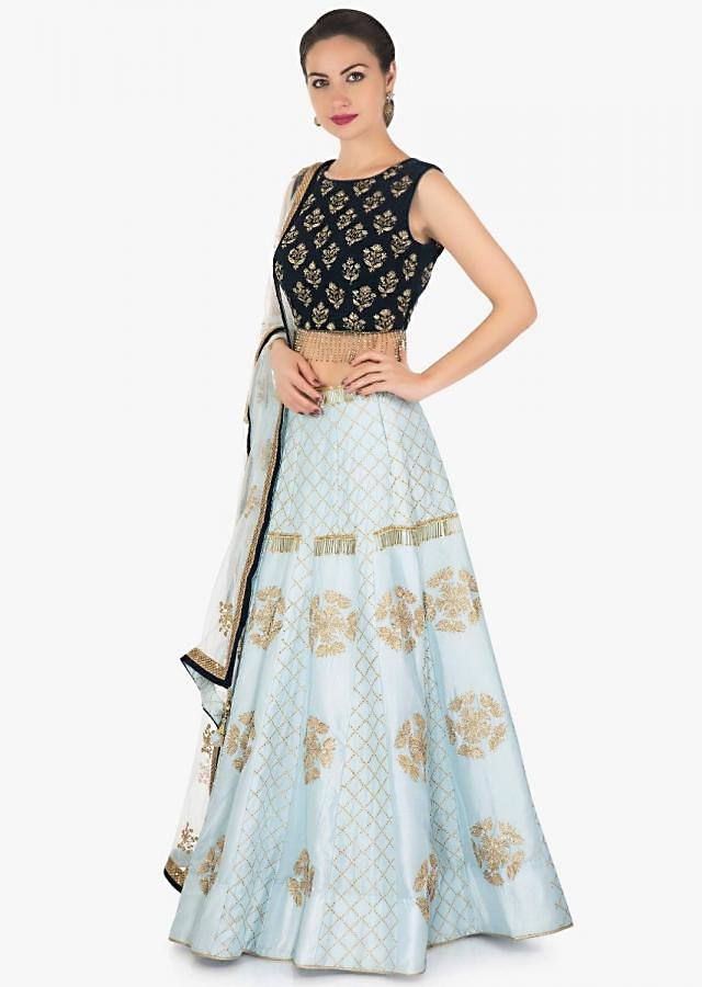 Grey blue lehenga in raw silk with zari lace with velvet blouse only on Kalki