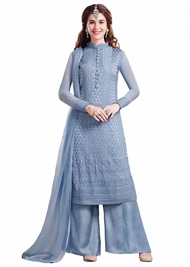 Grey blue unstitched suit adorn in resham and kundan embroidery