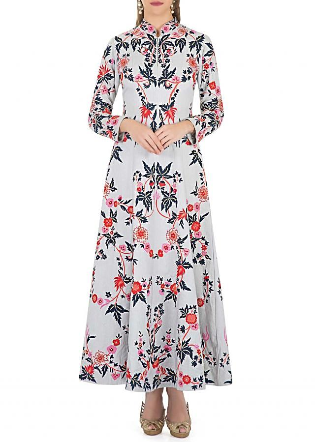 Grey Cotton Dress Adorned with Resham Embroidered Floral Motifs and Cut Dana only on Kalki