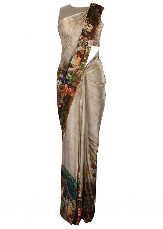 Grey cream saree in peacock and floral printed border only on Kalki