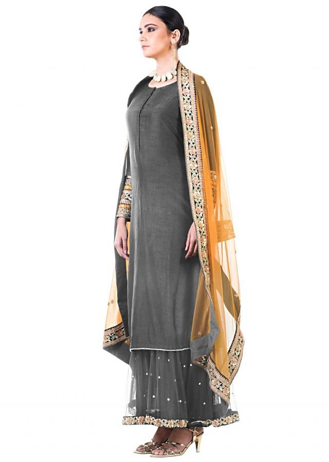 Grey Double Layer Dress With Beige Dupatta