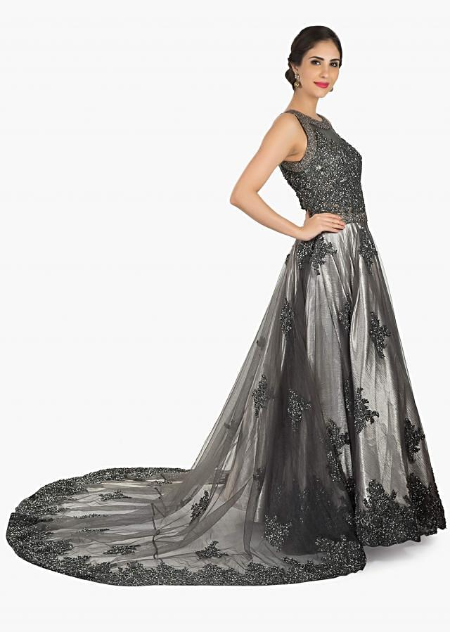 Grey embroidered net gown embellished in sequin and moti work only on Kalki