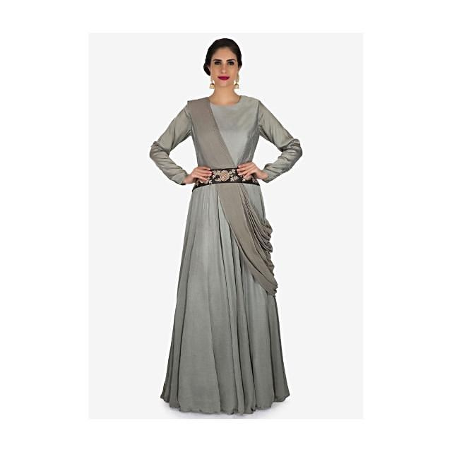 Grey gown in crepe with ready pleated dupatta adorn in zardosi embroidery work only on Kalki