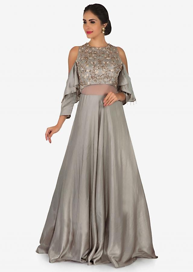 Grey gown in satin silk beautified with zardosi and cutdana embroidery work only on Kalki