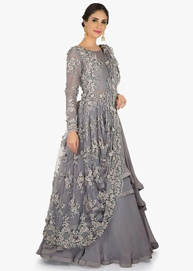 Grey gown saree in net crafted in moti and  cut dana embroidery work only on Kalki