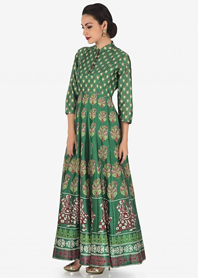 Grey green long dress in cotton silk with floral printed butti and thread work only on Kalki