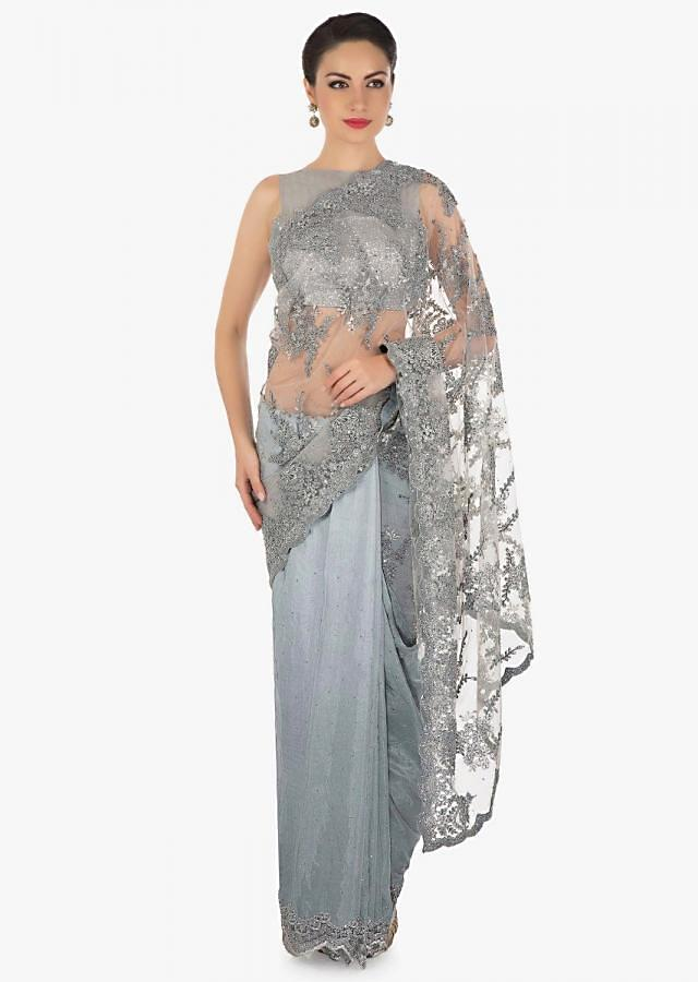 Grey half and half saree in embroidered net and silk with cut dana border only on Kalki