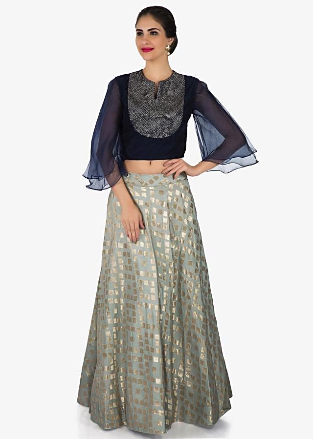Grey lehenga in brocade silk with navy blue top in cut dana embroidery only on Kalki