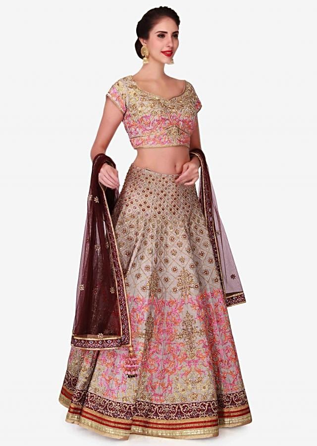 Grey lehenga in raw silk constructed in zardosi and resham patchwork embroidery only on Kalki
