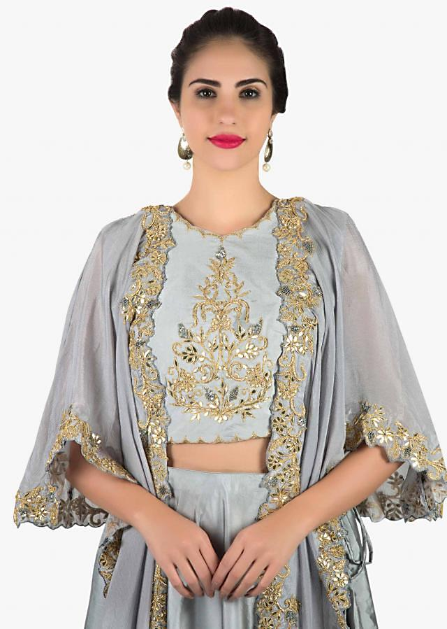 Grey lehenga with fancy jacket in gotta patch and zardosi embroidery only on Kalki