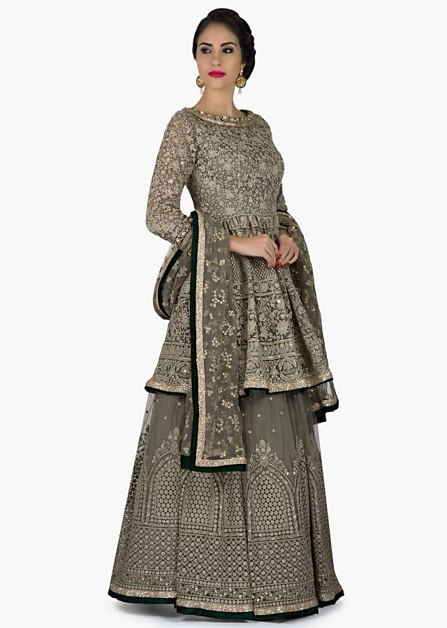 Grey lehenga with peplum top adorn in thread work in floral butti and jaal motif only on Kalki