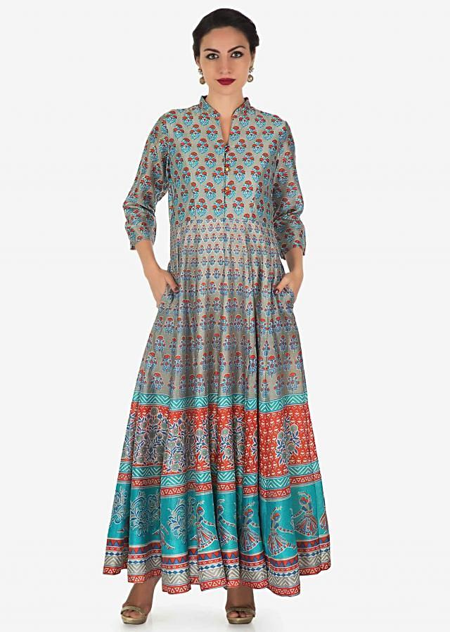 Grey long dress featuring in cotton silk with blue and orange floral butti all over only on Kalki