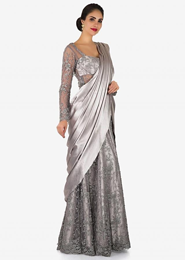 Grey net pre-stitched gown saree featuring the resham and cut dana work only on Kalki