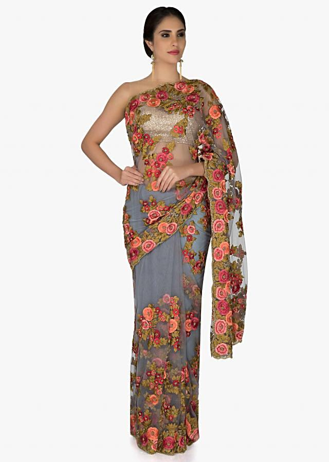 Grey Net Saree and Blouse Styled with Resham Embroidered Floral Motifs only on Kalki