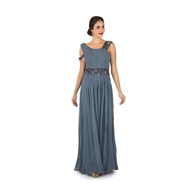 Grey palazzo gown in georgette embellished in tassels and sequin embroidered work only on Kalki