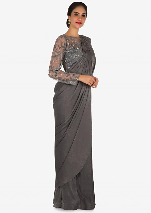 Grey ready pleated saree in velvet adorn in resham and zari embroidered work only on Kalki
