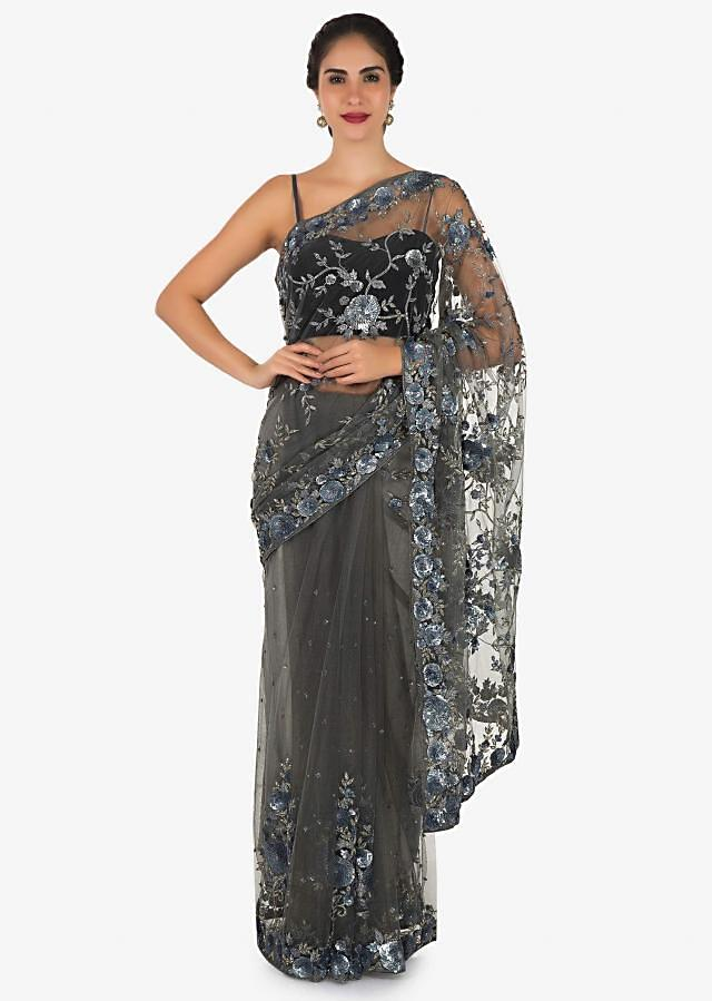 Grey saree featuring in net with sequin and cut dana embroidery only on Kalki
