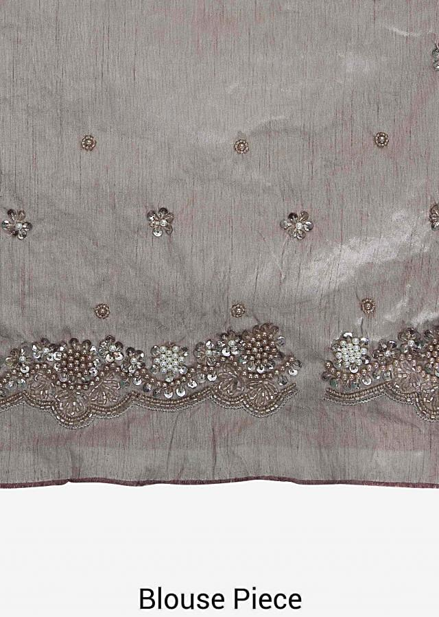 Grey saree in embroidered net with resham and cut dana embroidery only on Kalki