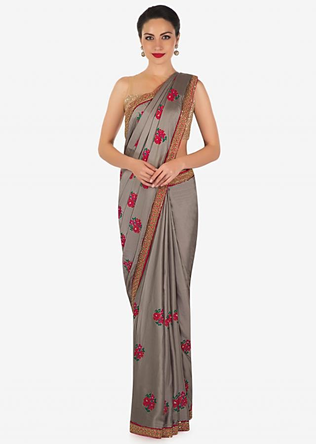 Grey saree in satin silk with resham embroidered butti and sequin border only on Kalki