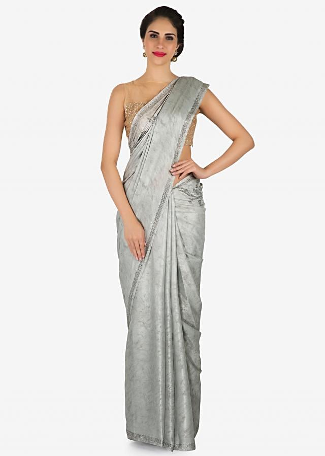 Grey saree in satin with kundan embroidered border only on Kalki