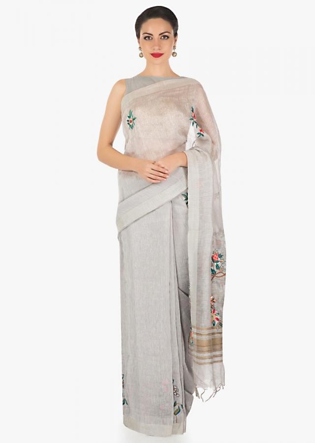 Grey saree in Tussar silk with embossed resham embroidered butti only on Kalki