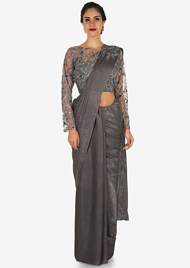 Grey saree in velvet with embellished blouse in zari and cut dana embroidery work only on Kalki