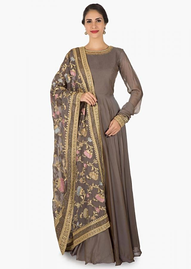 Grey satin suit adorn in kundan and gota lace embroidery work only on Kalki